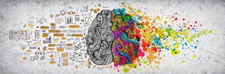 Left right human brain concept, textured illustration. Creative left and right part of human brain, emotial and logic parts concept with social and business doodle illustration of left side, and art Wall mural