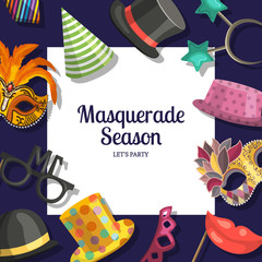 Vector background with place for text with masks and party accessories. Illustration of masquerade fashion, celebration carnival birthday