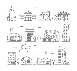 Town buildings icon. Urban architecture village houses factory living rooms exterior walls vector linear pictures set. Building estate linear, house suburban outline illustration
