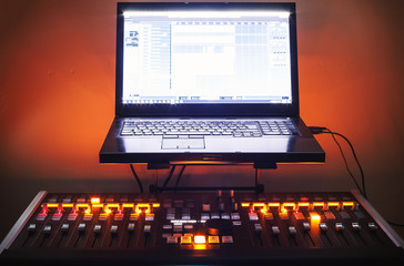 Mixing Console And Laptop