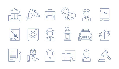 Law protection icon. Lawyer justice legal corporate judgement vector thin linear symbols. Illustration of law legal justice, line judge and gavel