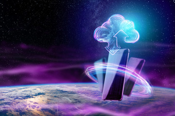Creative background, image of a hologram of a cloud on the background of the globe. The concept of cloud technology, cloud storage, a new generation of networks. Copy space, Mixed media.