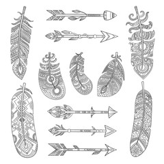 Tribal feathers and arrows. Aztec indian fashion elements with traditional pattern vector pictures collection. Illustration of arrow and traditional freehand feather