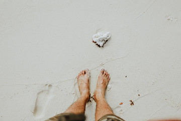 shell and foot in the sand