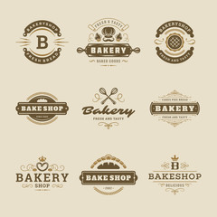 Bakery logos and badges design templates set vector illustration.