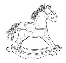 Old style rocking horse drawing - vintage like illustration of children toy on white background.
