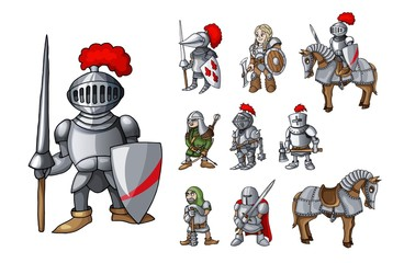 Set of medieval knight characters standing in different poses isolated on white