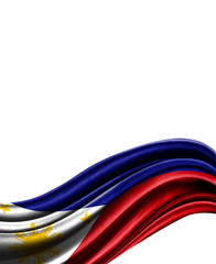 Philippines flag on cloth isolated on white background