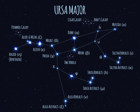 Full Ursa Major (Great Bear, Big Dipper) constellation, vector illustration with the names of basic stars against the starry sky