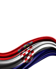 Croatia flag on cloth isolated on white background