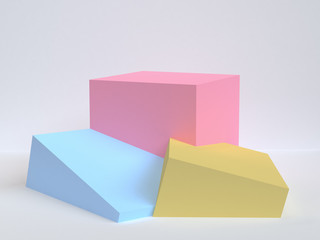 Minimalist geometrical abstract background, pastel colors, 3D render, trend poster, Illustration.