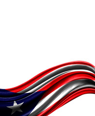 Puerto Rico flag on cloth isolated on white background