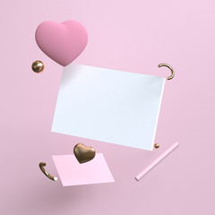 Pink Minimalist geometrical abstract background, pastel colors, 3D render, trend poster, Illustration. Concept : Valentine, Love, Flame. - Illustration