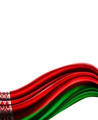 Belarus flag on cloth isolated on white background