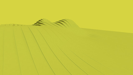 Yellow wave Future geometric patterns. 3d rendering.Trendy modern illustration, Pastel Geometric shapes. Concept : Abstract wallpaper, Banner, Poster backdrop.