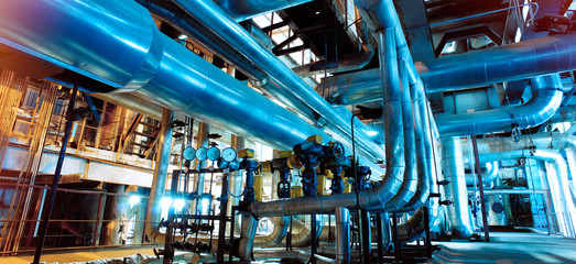 Industrial zone, Steel pipelines, valves and ladders Wall mural