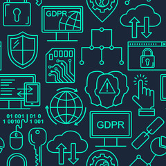 Vector line style seamless internet security pattern. General Data protection linear concept. Web privacy and safety outlune background.