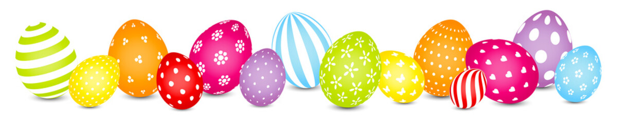 Easter Eggs Mix Pattern Rainbow Color Banner