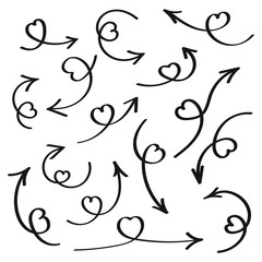 Hand drawn love arrows with hearts on the arrows flat style design vector illustration set isolated on white background.