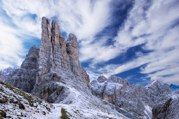 Torri Vajolet in Rosengarten Catinaccio massif. Beautiful view in Dolomites mountains, Alto Adige, South Tyrol, Italy