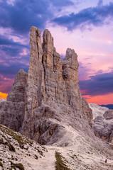Sunset over Torri di Vajolet in Rosengarten Catinaccio massif. Beautiful view in Dolomites mountains, Alto Adige, South Tyrol, Italy