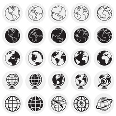 Globe icons on circles background for graphic and web design, Modern simple vector sign. Internet concept. Trendy symbol for website design web button or mobile app.