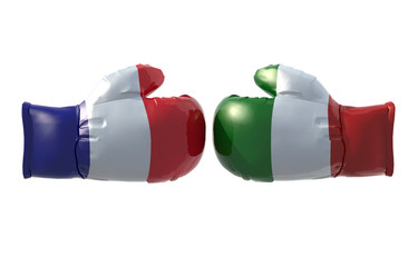 Boxing gloves with French and Italian flag