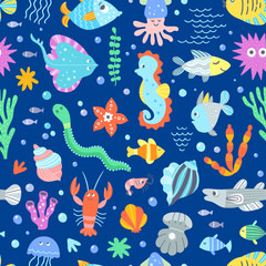 Underwater wildlife sea pattern. Seamless vector pattern with different fishes, sea and ocean animals. Cute vector background for children