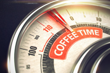 Coffee Time - Text on Conceptual Dial with Red Needle. 3D.