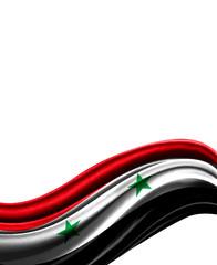 Syria flag on cloth isolated on white background