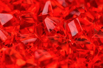 Lots of crystals of bright red scarlet close-up. Macro photography. Horizontal photography