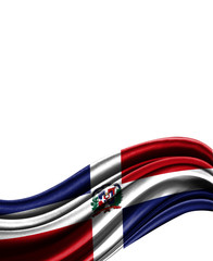 Dominican Republic flag on cloth isolated on white background