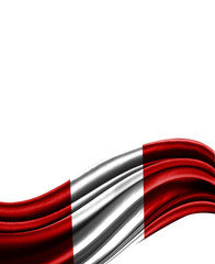 Peru flag on cloth isolated on white background