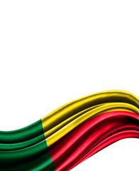 Benin flag on cloth isolated on white background
