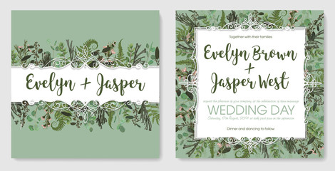 Set for wedding invitation, greeting card, save date, banner. Vintage frame with green fern leaf, boxwood, brunia,eucalyptus and chamaelaucium. Isolated