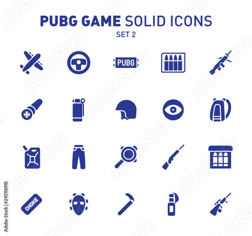 PUBG game glyph icons  Vector illustration of combat
