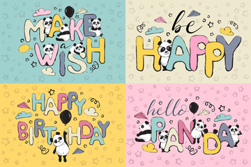 Greeting card set design with cute panda bears and quotes