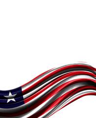 Liberia flag on cloth isolated on white background