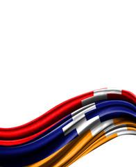 Nagorno Karabakh Republic flag on cloth isolated on white background
