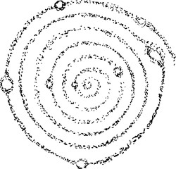 Illustration of the cosmic spiral of the galaxy and the planets in it.