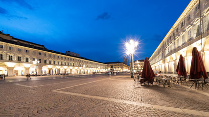 San Carlo square in Turin at evening