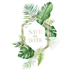 Tropical exotic watercolor floral illustration - leaf wreath / frame with gold texture geometric shape for wedding stationary, greetings, wallpaper, fashion, background. Palm fern banana green leaves.
