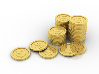 3d rendering gold coin Dollar symbol