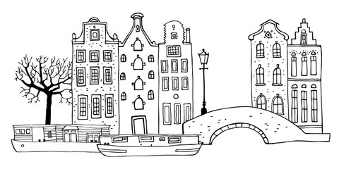 Amsterdam street scene. Vector outline sketch hand drawn illustration. Houses with bridge, lantern, trees and boats isolated on white background