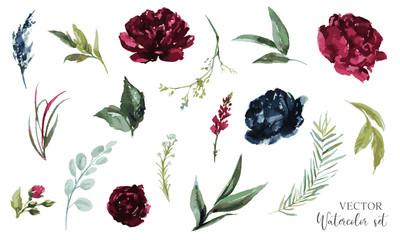 Vector watercolour floral illustration set. DIY flower elements collection - perfect for flower bouquets, wreaths, arrangements, wedding invitations, anniversary, birthday, greetings, cards, logo.