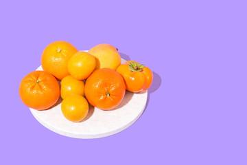 Fruits on Purple Background, Studio Shot
