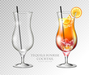 Realistic cocktail tequila sunrise vector illustration on transparent background. Full and empty glass