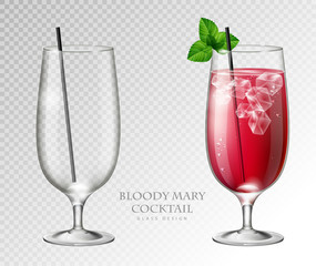 Realistic cocktail bloody mary vector illustration on transparent background. Full and empty glass