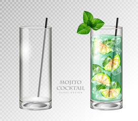 Realistic cocktail mojito vector illustration on transparent background. Full and empty glass