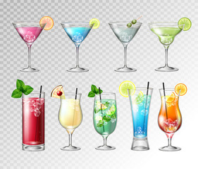 Set of Realistic cocktails  on transparent background. Vector illustration